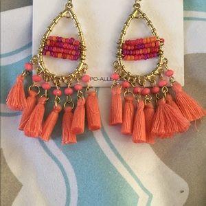 Gold tear drop fringed beaded earrings